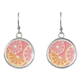 Fun Tropical Pink grapefruit and lemon pattern Earrings