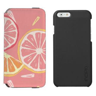 Fun Tropical Pink grapefruit and lemon pattern Incipio Watson™ iPhone 6 Wallet Case