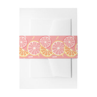 Fun Tropical Pink grapefruit and lemon pattern Invitation Belly Band