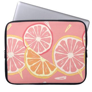 Fun Tropical Pink grapefruit and lemon pattern Laptop Sleeve