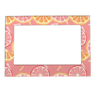 Fun Tropical Pink grapefruit and lemon pattern Magnetic Picture Frame