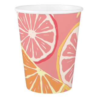 Fun Tropical Pink grapefruit and lemon pattern Paper Cup