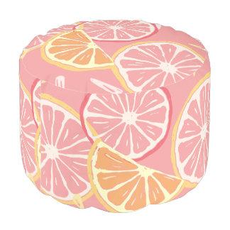 Fun Tropical Pink grapefruit and lemon pattern Pouf