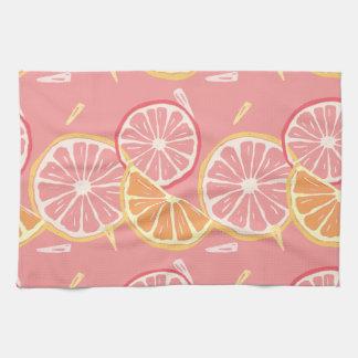 Fun Tropical Pink grapefruit and lemon pattern Tea Towel