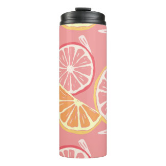 Fun Tropical Pink grapefruit and lemon pattern Thermal Tumbler