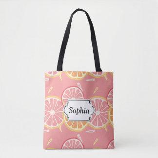 Fun Tropical Pink grapefruit and lemon pattern Tote Bag