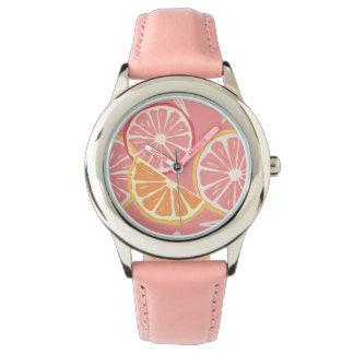 Fun Tropical Pink grapefruit and lemon pattern Watch