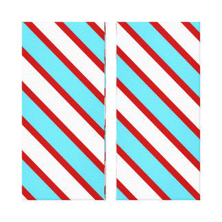 Fun Turquoise Blue Red and White Diagonal Stripes Gallery Wrap Canvas