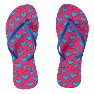 Fun Turquoise Hearts Pattern on Hot Pink Thongs