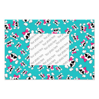 Fun turquoise skulls and bows pattern art photo