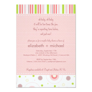 Fun Twin Girl Couples Baby Shower Invitation