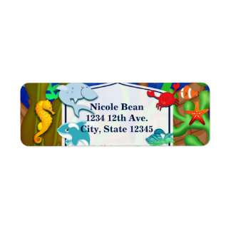 Fun under the sea kids birthday party return address label