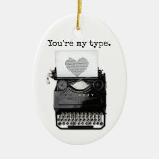 Fun Valentine's Day   You're My Type Ceramic Ornament