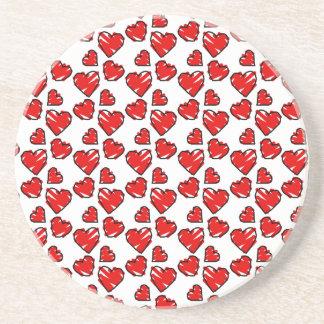 Fun Valrentine Heart Scribbles Drink Coasters