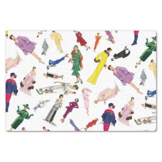 Fun Vintage Dresses Fashion Illustration Pattern Tissue Paper