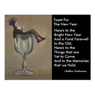 Fun vintage New Year's Toast Wine Gal Postcards