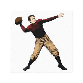 Fun Vintage Photo Illustration of Football Player Gallery Wrap Canvas