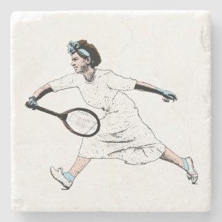 Fun Vintage Photo Illustration of Tennis Player Stone Coaster