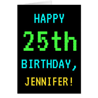 Fun Vintage/Retro Video Game Look 25th Birthday Card