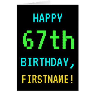 Fun Vintage/Retro Video Game Look 67th Birthday Card