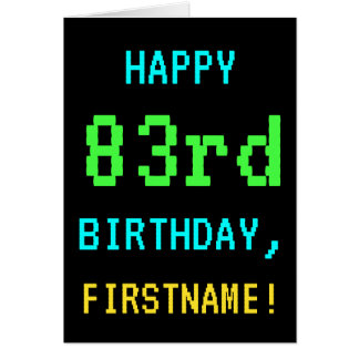 Fun Vintage/Retro Video Game Look 83rd Birthday Card