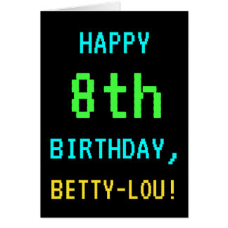 Fun Vintage/Retro Video Game Look 8th Birthday Card