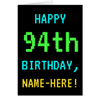 Fun Vintage/Retro Video Game Look 94th Birthday Card