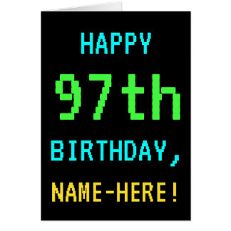 Fun Vintage/Retro Video Game Look 97th Birthday Card
