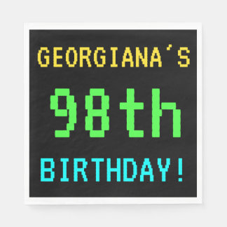 Fun Vintage/Retro Video Game Look 98th Birthday Paper Napkin