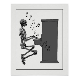 Fun Vintage Skeleton Playing Piano Poster