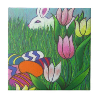 "Fun Watercolor Bunny Rabbit with Eggs 4.25"" Tile"