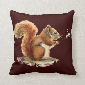 Fun Watercolor Red Squirrel roasting Marshmallows Cushion