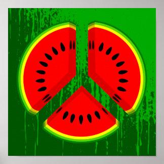Fun Watermelon Peace Bright Colours Poster