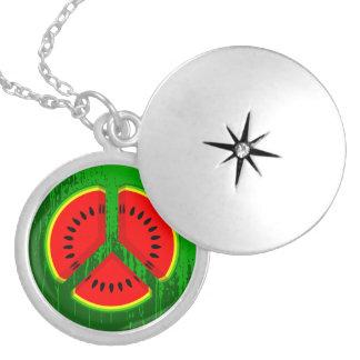 Fun Watermelon Peace Bright Colours Round Locket Necklace