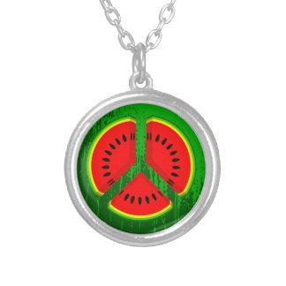 Fun Watermelon Peace Bright Colours Round Pendant Necklace