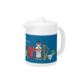 Fun Welsh Costume and Emblems on Blue China Teapot