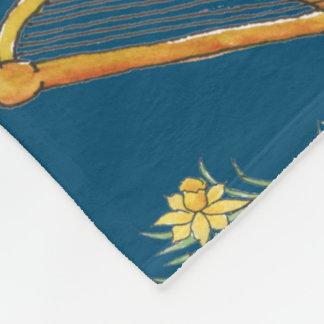 Fun Welsh Emblems on Blue Fleece Blanket