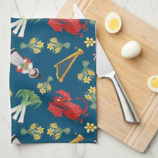 Fun Welsh Emblems on Blue Kitchen Towel, Tea Towel