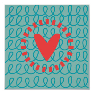 Fun Whimsical Doodle Heart and Swirls 13 Cm X 13 Cm Square Invitation Card