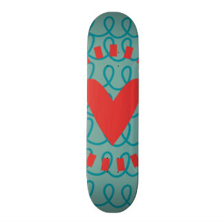 Fun Whimsical Doodle Heart and Swirls 20 Cm Skateboard Deck