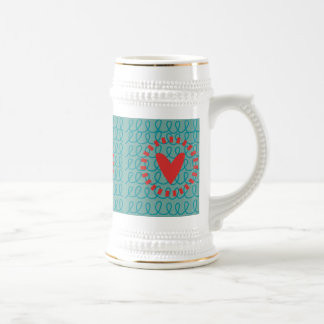 Fun Whimsical Doodle Heart and Swirls Beer Steins