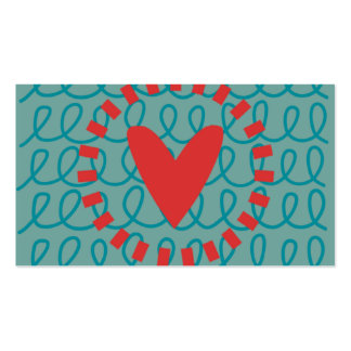 Fun Whimsical Doodle Heart and Swirls Business Card