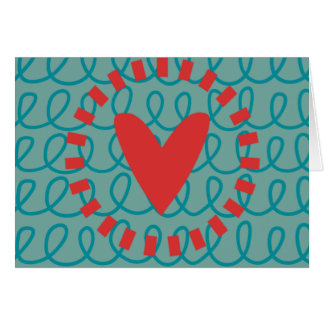 Fun Whimsical Doodle Heart and Swirls Card