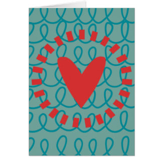 Fun Whimsical Doodle Heart and Swirls Greeting Card