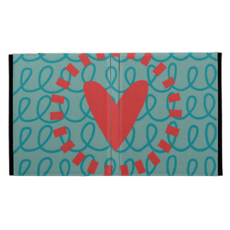 Fun Whimsical Doodle Heart and Swirls iPad Folio Covers