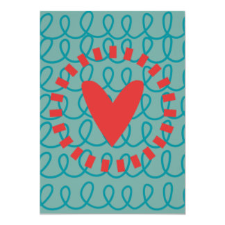 Fun Whimsical Doodle Heart and Swirls 13 Cm X 18 Cm Invitation Card