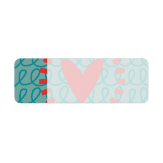 Fun Whimsical Doodle Heart and Swirls Return Address Label