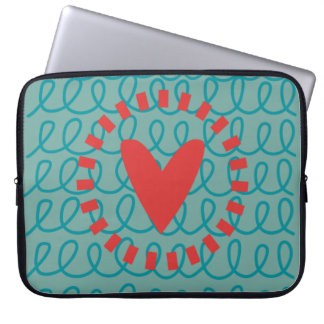 Fun Whimsical Doodle Heart and Swirls Laptop Computer Sleeves