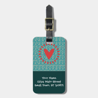 Fun Whimsical Doodle Heart and Swirls Luggage Tag