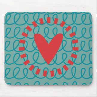Fun Whimsical Doodle Heart and Swirls Mouse Pad